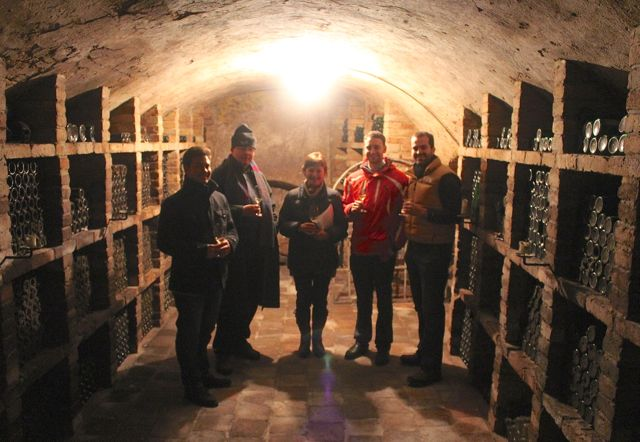 Ilse and the Bluedanube team in the cellar